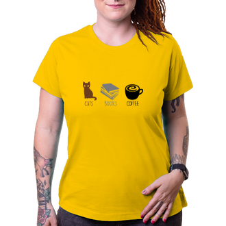Tričko Cats, books, coffee
