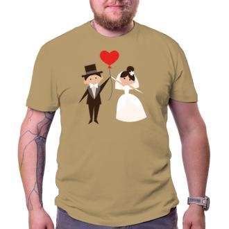 Svatební Tričko Ženich a nevěsta s balonkem