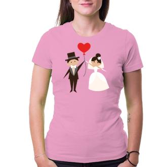 Svatební Tričko Nevěsta s ženichem a balonkem