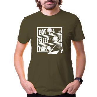 Rybáři Pánské tričko Eat, sleep, fish